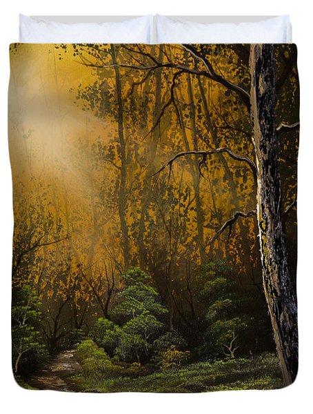 Sunlit Trail Duvet Cover by C Steele