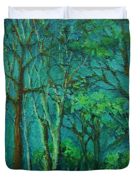 Sunlit Woodland Path Duvet Cover