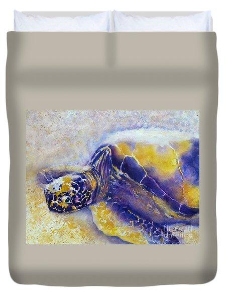 Sunning Turtle Duvet Cover