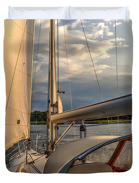 Sunny Afternoon Inland Sailing In Poland 2 Duvet Cover by Julis Simo