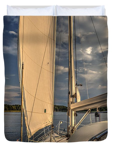 Sunny Afternoon Inland Sailing In Poland Duvet Cover by Julis Simo