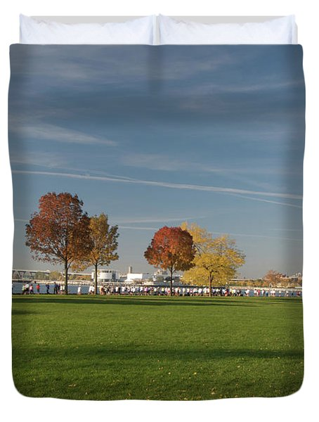 Duvet Cover featuring the photograph Sunny Autumn Day by Jonah  Anderson