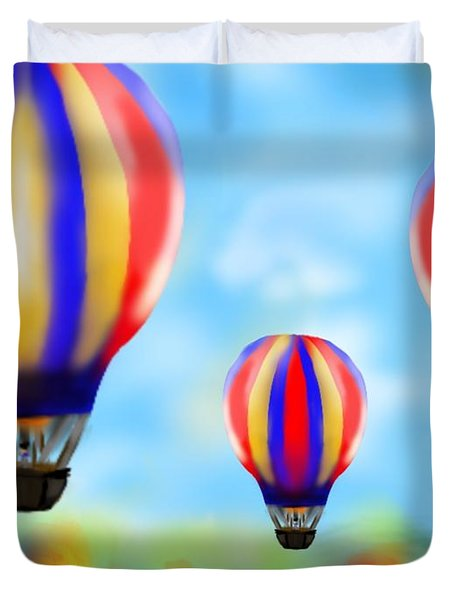 Sunny Balloon Ride Duvet Cover by Christine Fournier
