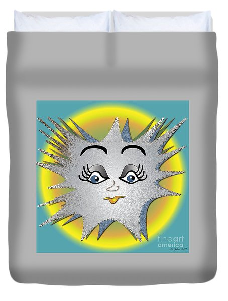 Duvet Cover featuring the digital art Sunny Boy by Iris Gelbart