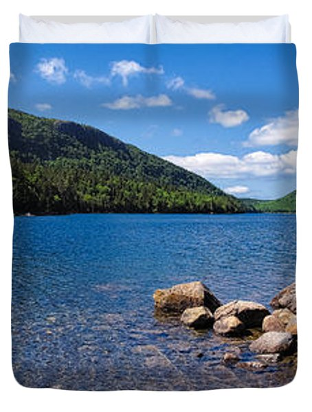 Duvet Cover featuring the photograph Sunny Day On Jordan Pond   by Lars Lentz