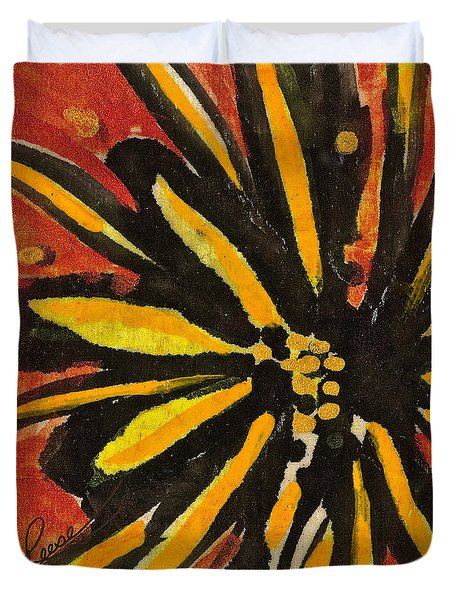 Sunny Hues Watercolor Duvet Cover by Joan Reese