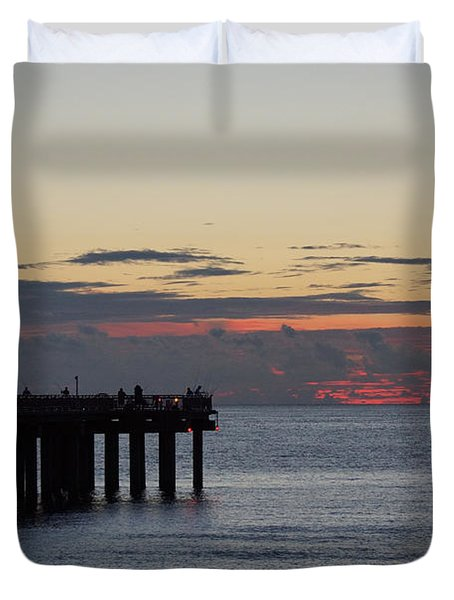 Duvet Cover featuring the photograph Sunny Isles Fishing Pier Sunrise by Rafael Salazar