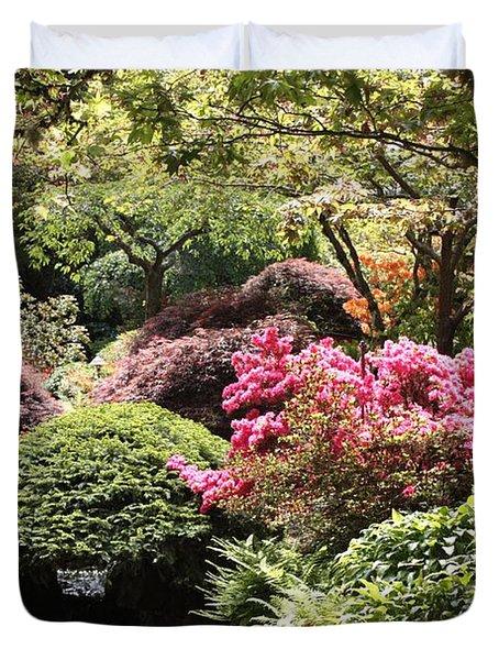 Sunny Japanese Garden Duvet Cover by Carol Groenen