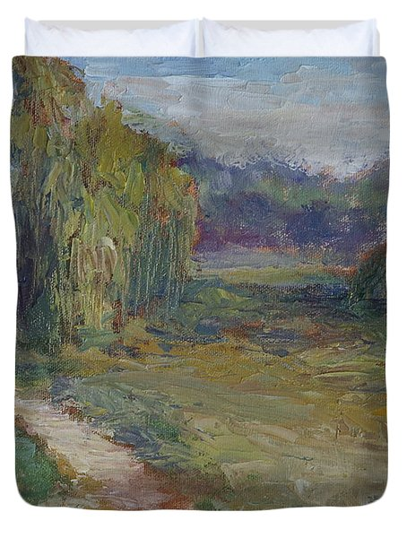 Sunny Morning In The Park -wetlands - Original - Textural Palette Knife Painting Duvet Cover
