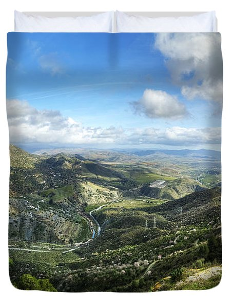 Duvet Cover featuring the photograph Sunny Mountains View With Picturesque Clouds by Julis Simo