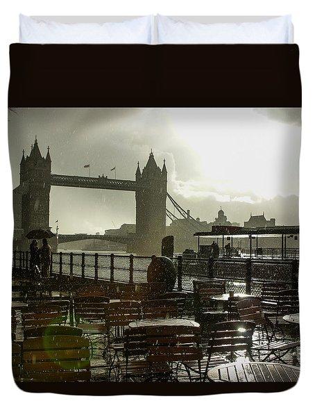 Sunny Rainstorm In London England Duvet Cover