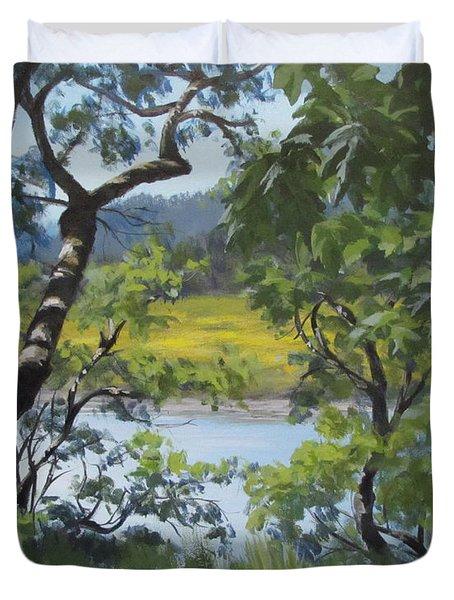 Sunny River Duvet Cover by Karen Ilari