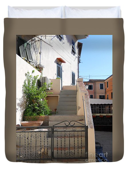 Duvet Cover featuring the photograph Sunny Tuscany Village by Ramona Matei