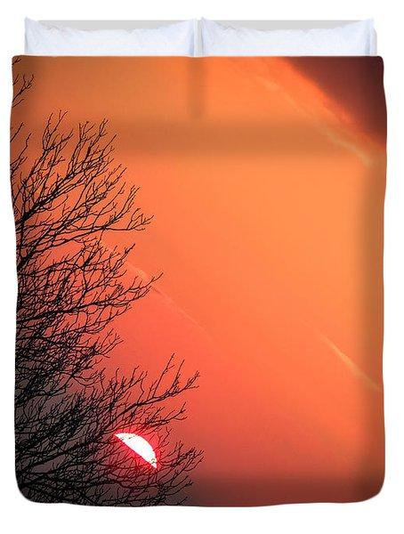 Sunrise And Hibernating Tree Duvet Cover