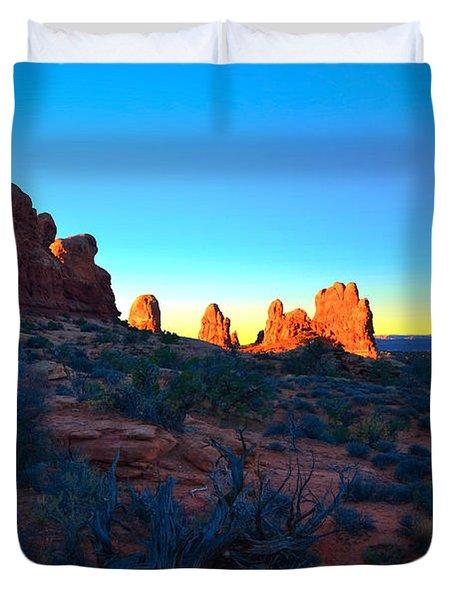 Sunrise At Arches National Park Duvet Cover by Tara Turner