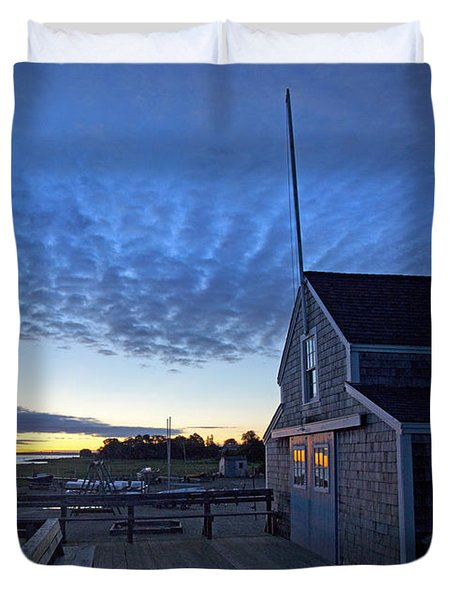 Sunrise At Barnstable Yacht Club Duvet Cover