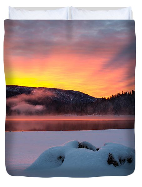 Sunrise At Bass Lake Duvet Cover