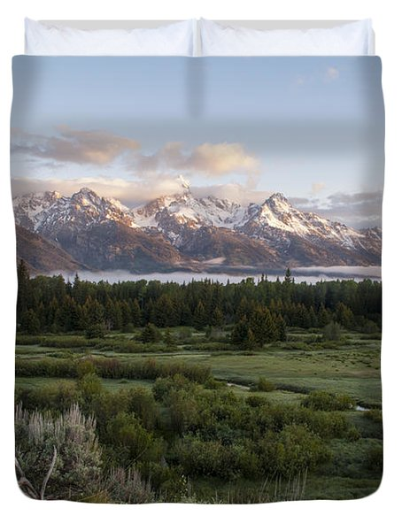 Sunrise At Grand Teton Duvet Cover by Brian Harig