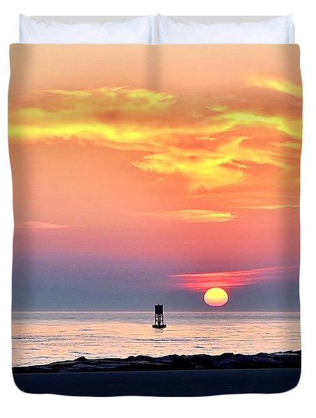 Sunrise At Indian River Inlet Duvet Cover