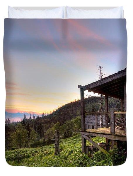 Sunrise At Mt Leconte Duvet Cover by Debra and Dave Vanderlaan