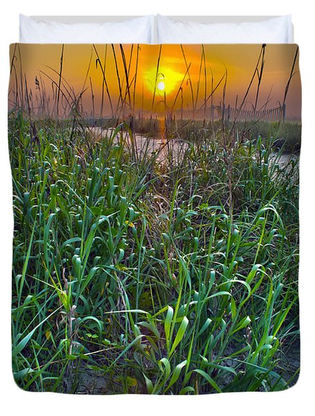 Duvet Cover featuring the photograph Sunrise At Myrtle Beach by Alex Grichenko