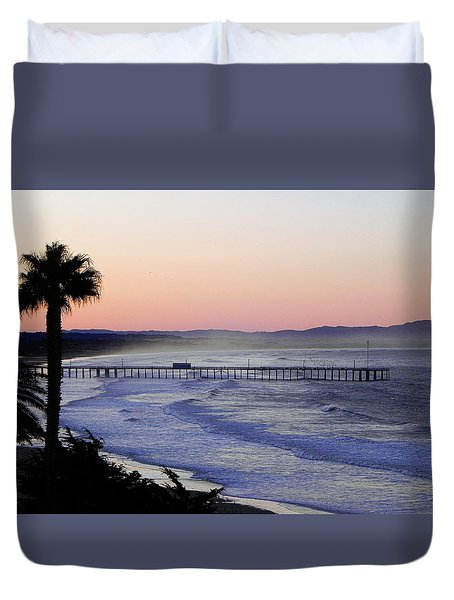 Duvet Cover featuring the photograph Sunrise At Pismo Beach by Kathy Churchman