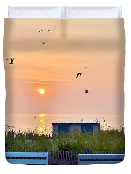 Sunrise At Rehoboth Beach Boardwalk Duvet Cover