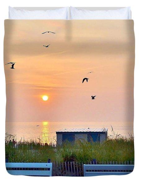 Sunrise At Rehoboth Beach Boardwalk Duvet Cover