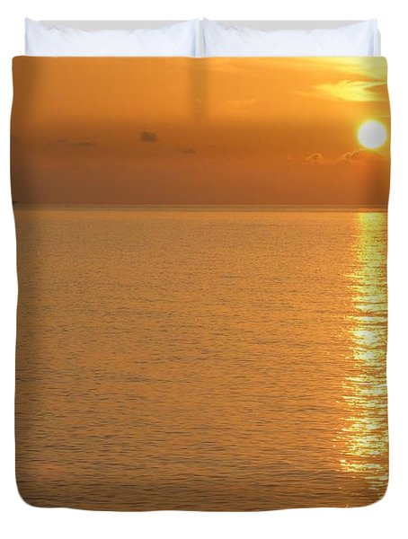 Duvet Cover featuring the photograph Sunrise At Sea by Photographic Arts And Design Studio