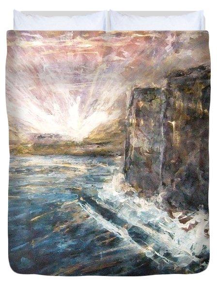 Sunrise At Tal-gurdan Cliffs Duvet Cover by Marco Macelli