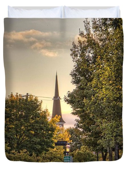 Duvet Cover featuring the photograph Sunrise At The End Of The Street by Daniel Sheldon