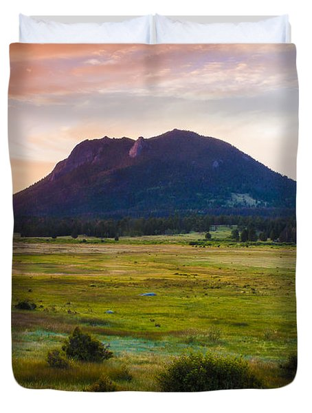 Sunrise At The Horseshoe Park Of The Colorado Rockies Duvet Cover by Ellie Teramoto