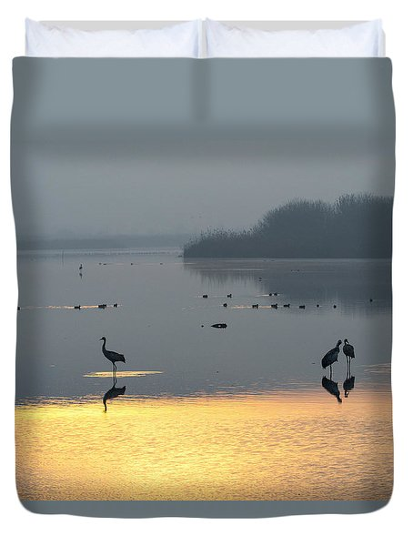 Sunrise Over The Hula Valley Israel 1 Duvet Cover
