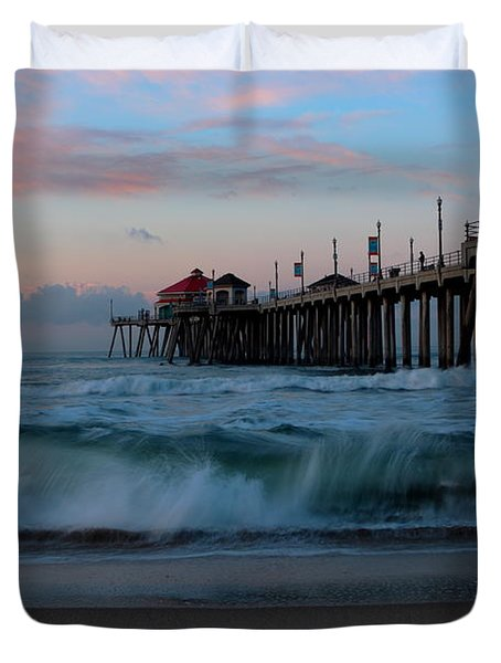 Sunrise At The Pier Duvet Cover