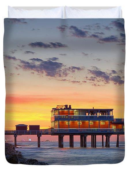 Sunrise At The Pier - Galveston Texas Gulf Coast Duvet Cover