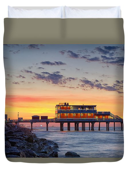 Sunrise At The Pier - Galveston Texas Gulf Coast Duvet Cover