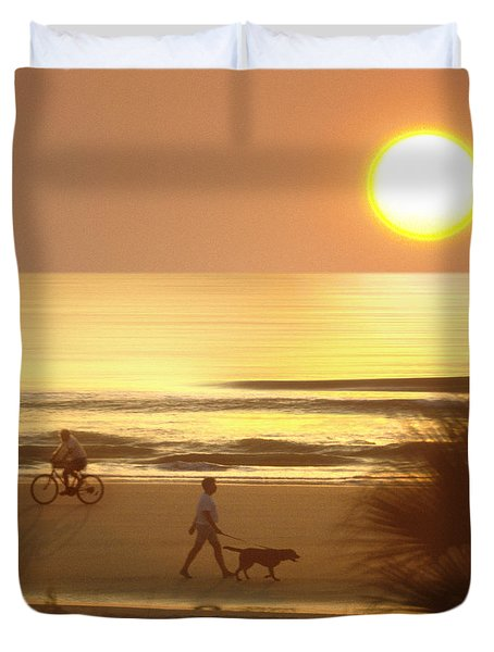 Sunrise At Topsail Island 2 Duvet Cover by Mike McGlothlen