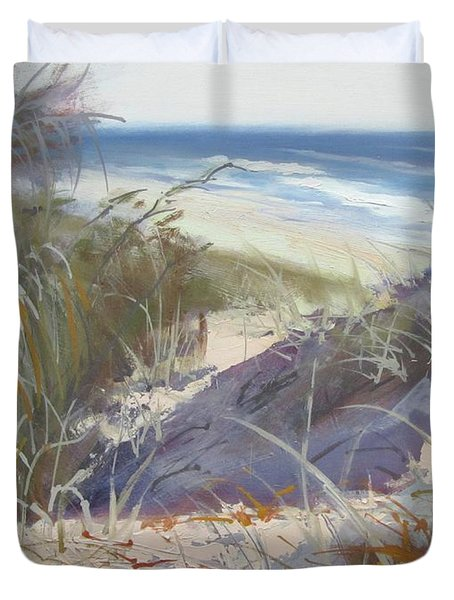 Duvet Cover featuring the painting Sunrise Beach Dunes Sunshine Coast Qld Australia by Chris Hobel
