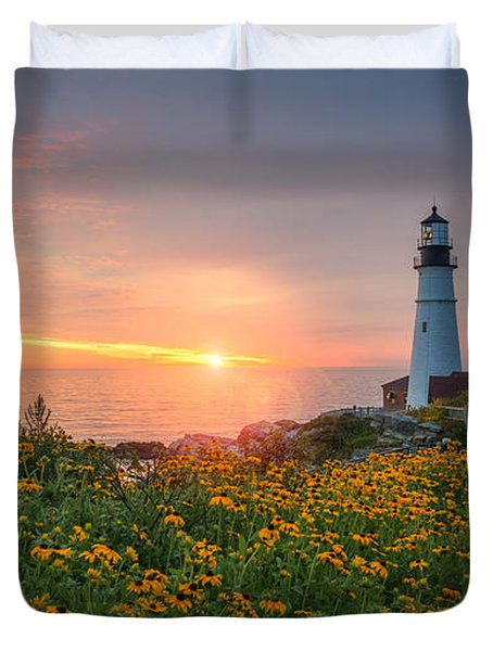 Sunrise Bliss At Portland Lighthouse Duvet Cover