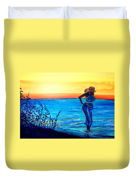Duvet Cover featuring the painting Sunrise Blues by Ecinja Art Works