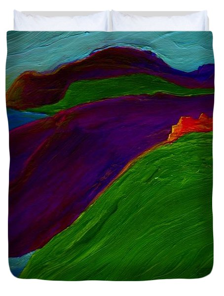 Duvet Cover featuring the painting Sunrise Castle By Jrr by First Star Art