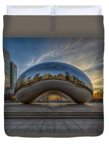 Duvet Cover featuring the photograph Sunrise Cloud Gate by Sebastian Musial