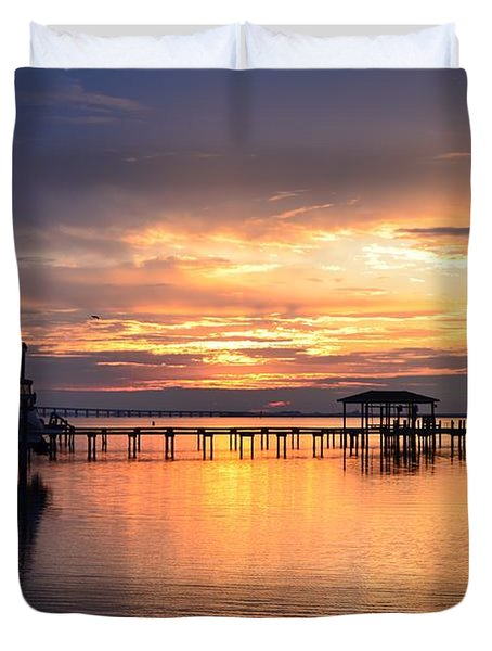 Sunrise Colors On The Sound Duvet Cover by Jeff at JSJ Photography