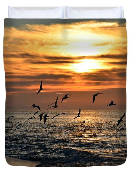 Sunrise Colors Over Navarre Beach With Flock Of Seagulls Duvet Cover by Jeff at JSJ Photography
