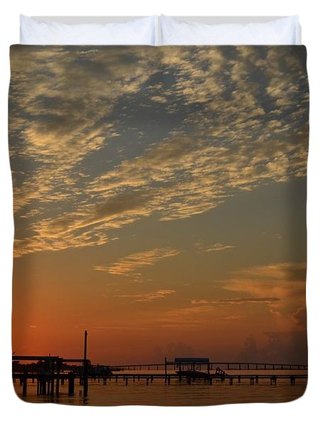 Sunrise Colors With Storms Building On Sound Duvet Cover