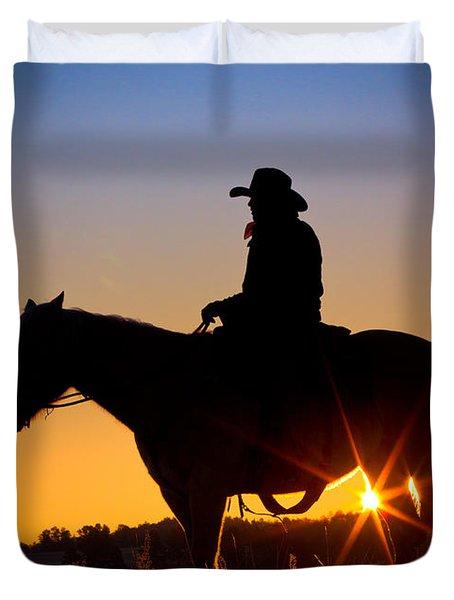 Sunrise Cowboy Duvet Cover by Inge Johnsson