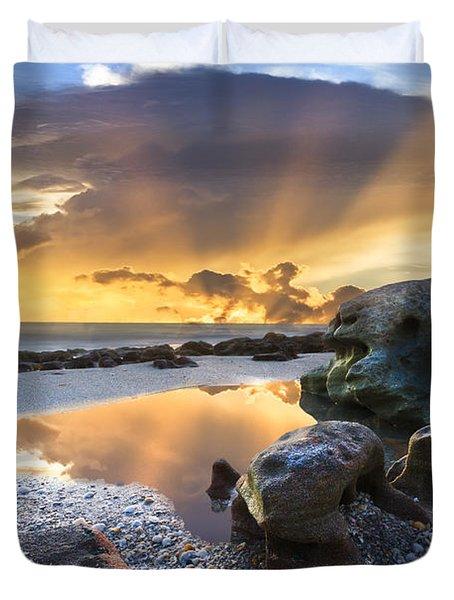 Sunrise Explosion Duvet Cover by Debra and Dave Vanderlaan