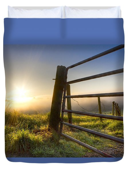 Sunrise  Gate Duvet Cover by Debra and Dave Vanderlaan