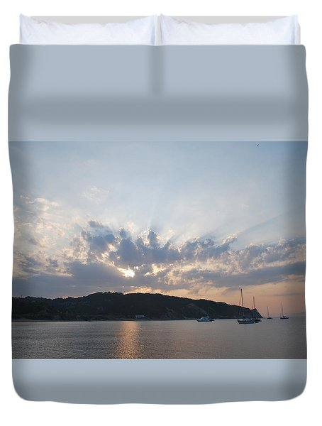 Duvet Cover featuring the photograph Sunrise by George Katechis