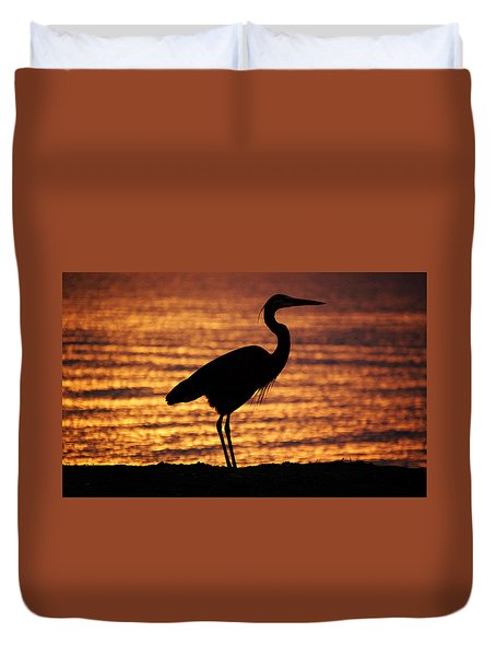 Duvet Cover featuring the photograph Sunrise Heron by Leticia Latocki